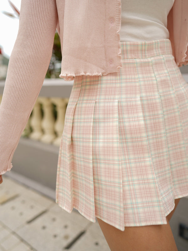 Pleated Check Skirt In Pink x Blue