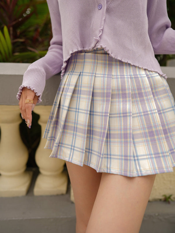 Pleated Mini Skirt In Purple x Yellow (Pre-Order)