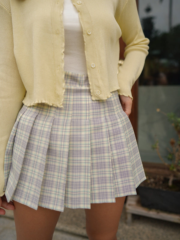 Pleated Check Skirt In Purple x Green