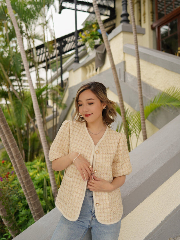 Short Sleeve Tweed Jacket In Beige (Pre-order)