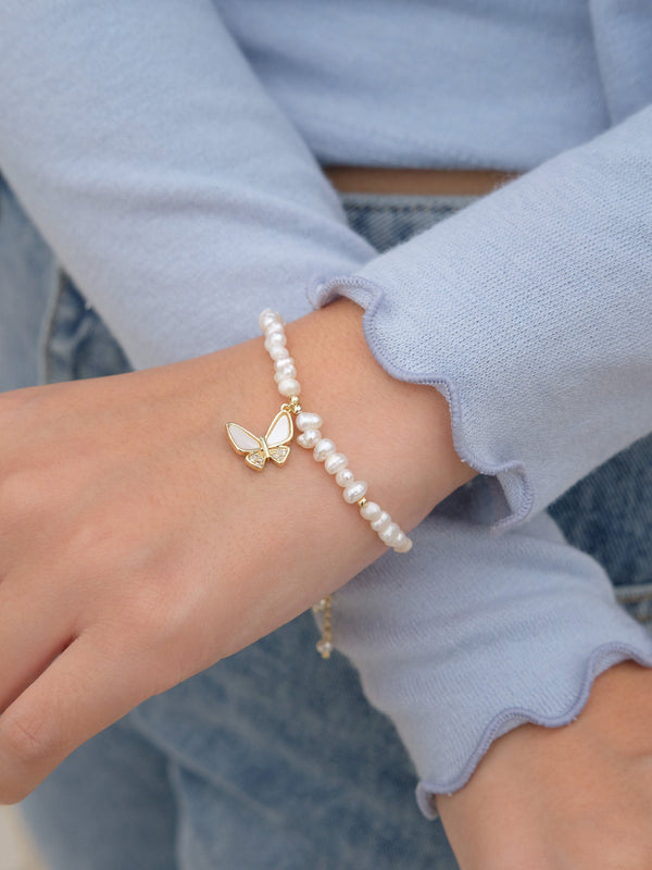 Butterfly With Pearl Bracelet