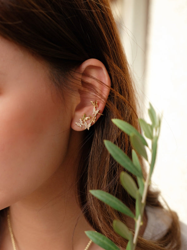 Asymmetrical Butterfly Earrings In Gold