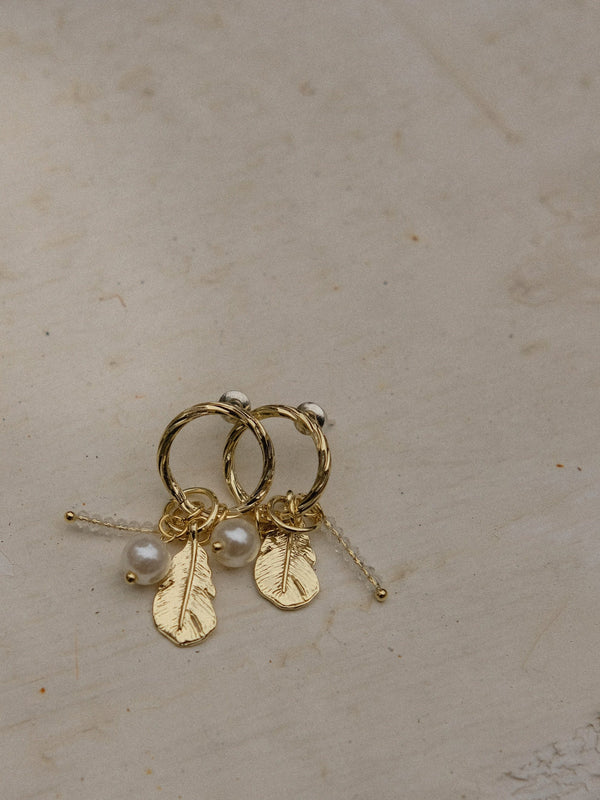 Circle With Drop Charms Earrings In Gold Tone