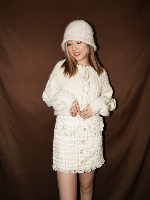Tweed Mini Skirt In White (In stock)
