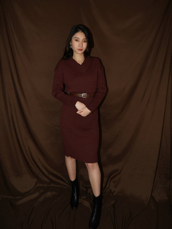 V Neck Knit Midi Dress In Brick Red (In Stock)