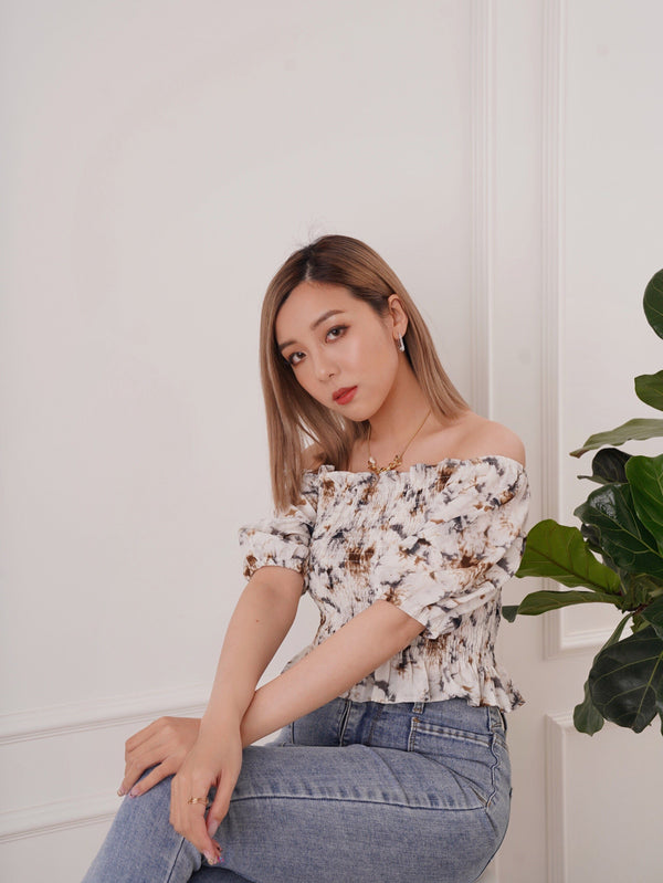 Cropped Marble Blouse (Pre-order)