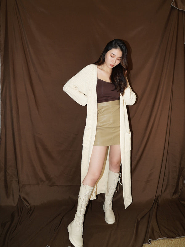 Longline Cardigan With Slide Slit Details In Cream (Pre-order)