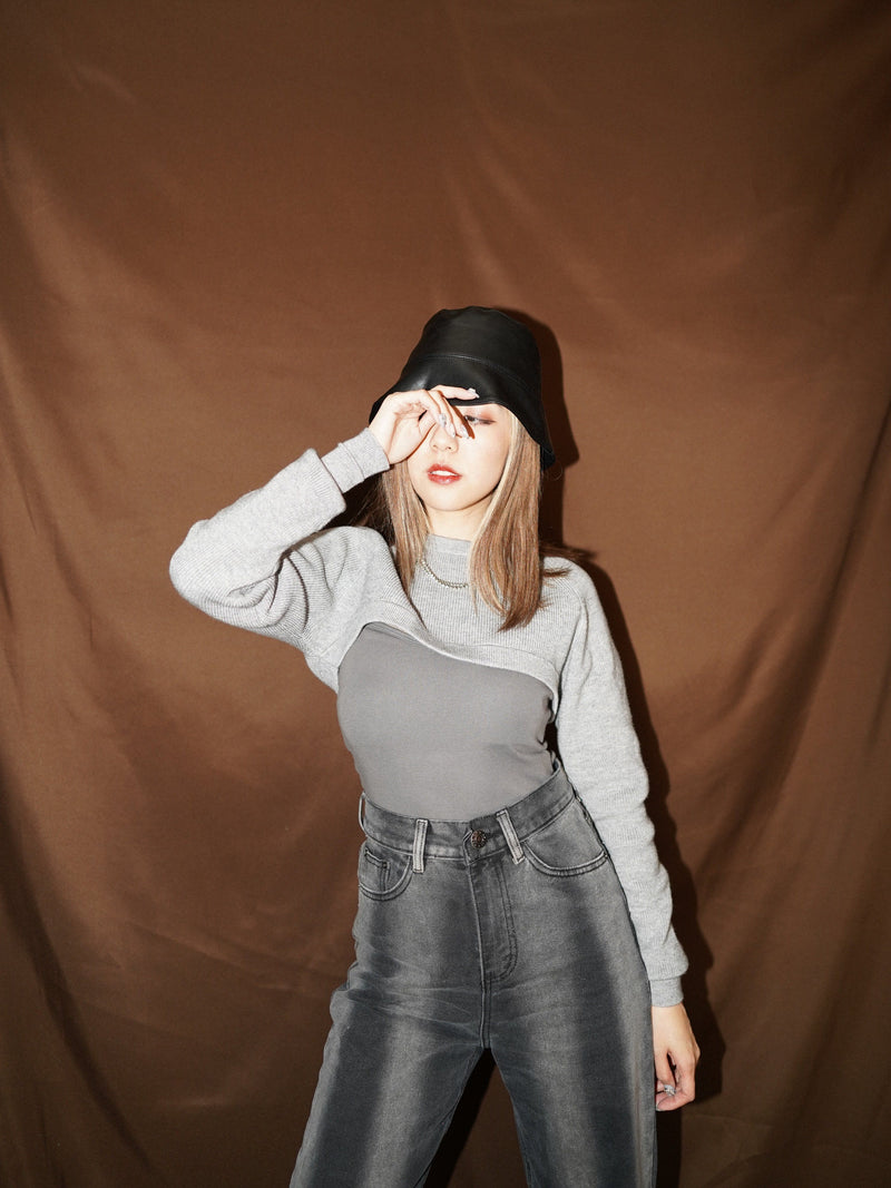 Cropped Layering Top In Grey (In Stock)