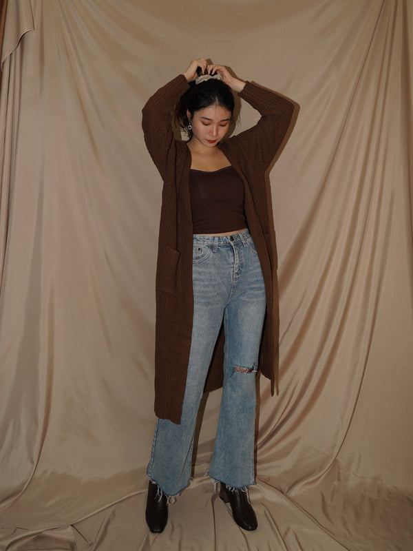 Longline Cardigan With Slide Slit Details In Brown (Pre-order)