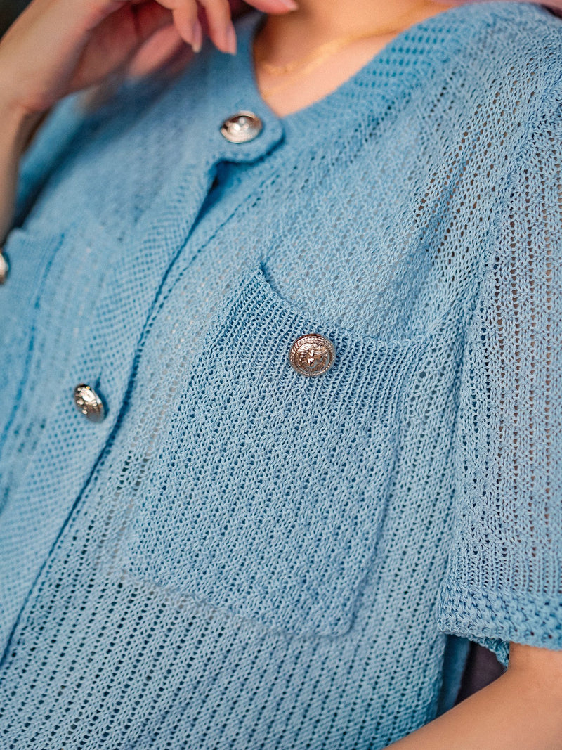 Spread Love To The Knit Top With Button Details In Blue