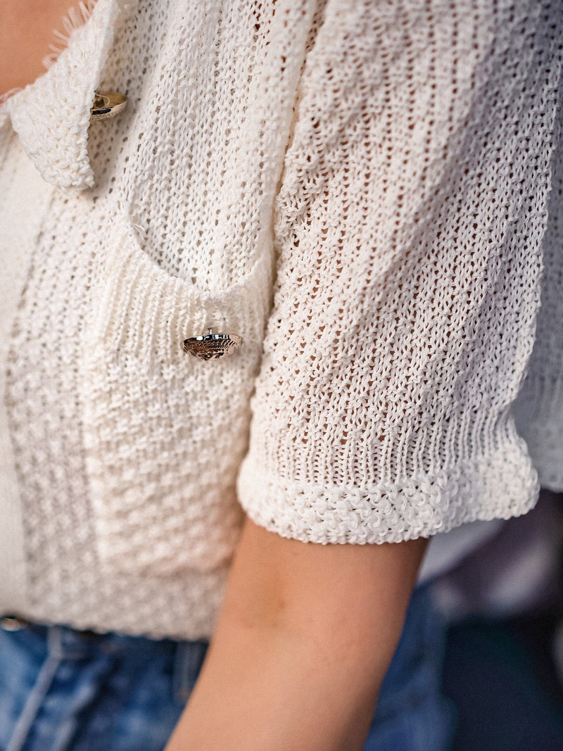 Spread Love To The Knit Top With Button Details In White