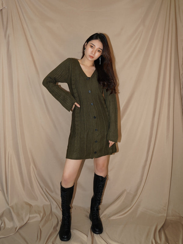 Crochet V Neck Button-Up Mini Dress In Olive (In Stock)
