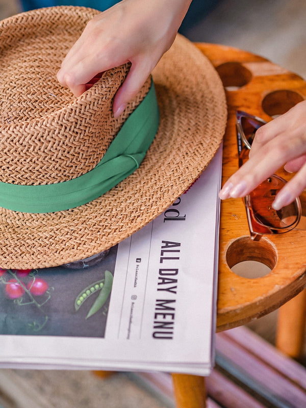 Summer Straw Hat With Green Band