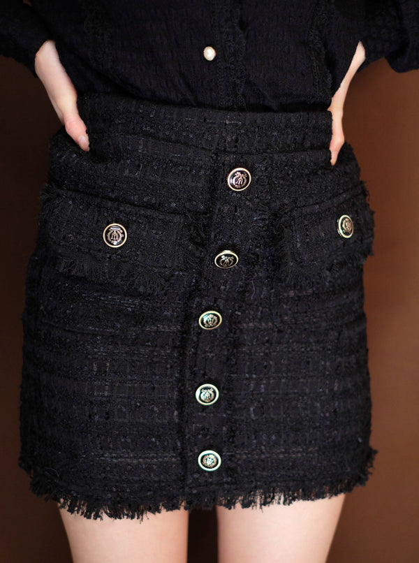 Tweed Mini Skirt In Black (In stock)
