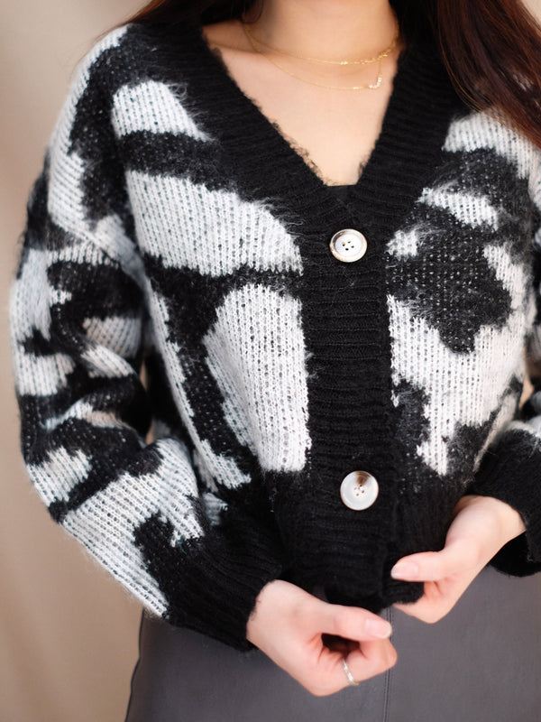 Patterned Cropped Cardigan (In Stock)