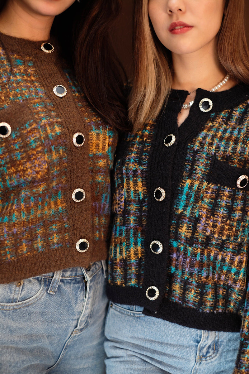 Mixed Tweed Cropped Cardigan