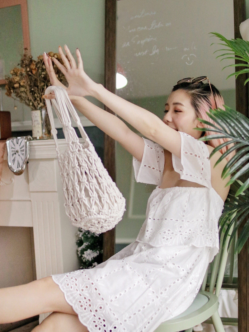 Off Shoulder Eyelet Embroidery Dress