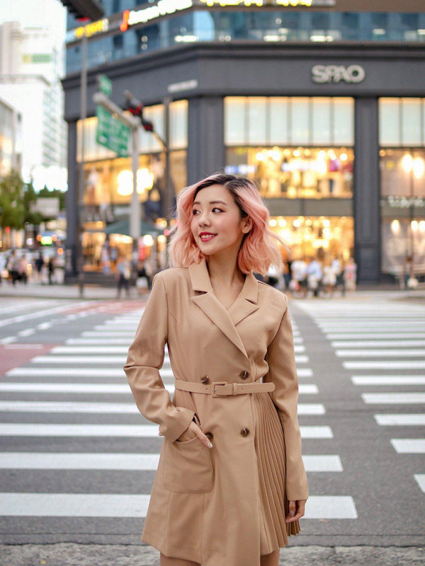 Mismatched Long Coat in Beige