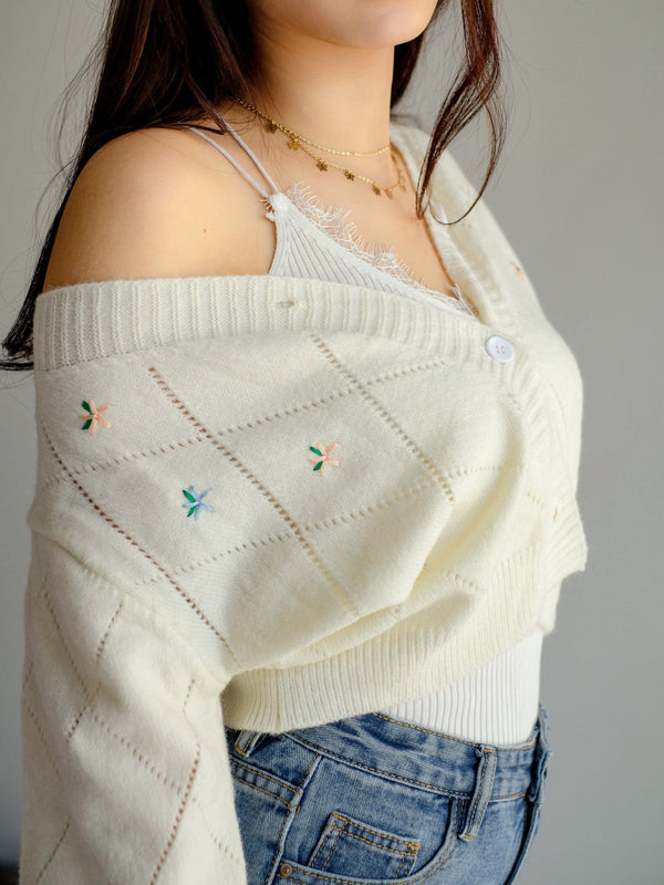 Flower Cropped Cardigan
