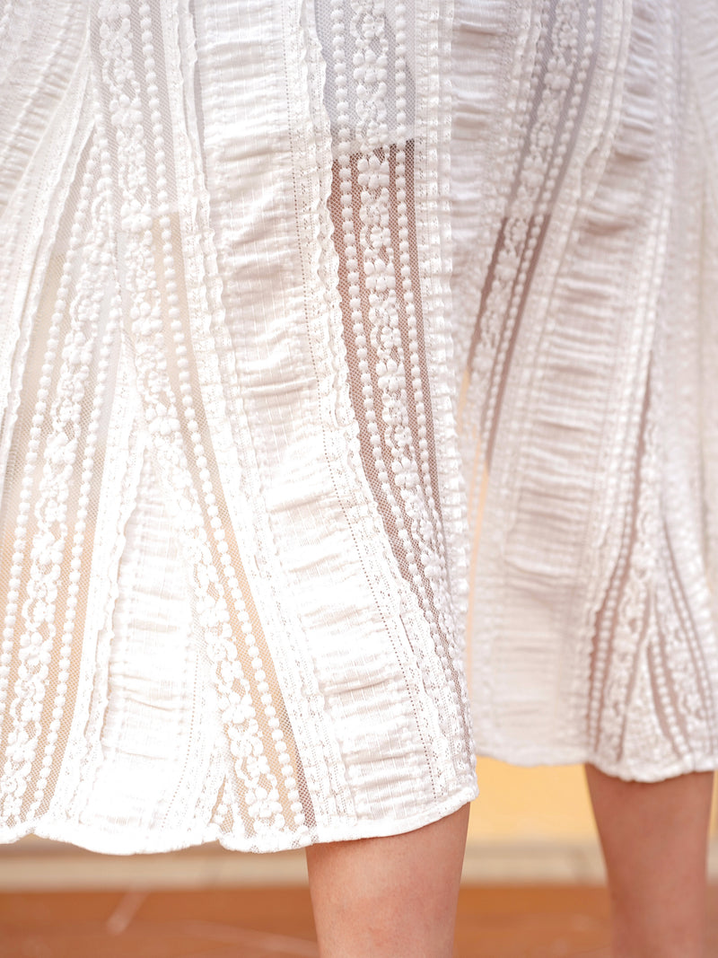 Be Yourself Long Lace Button-Up Dress In White
