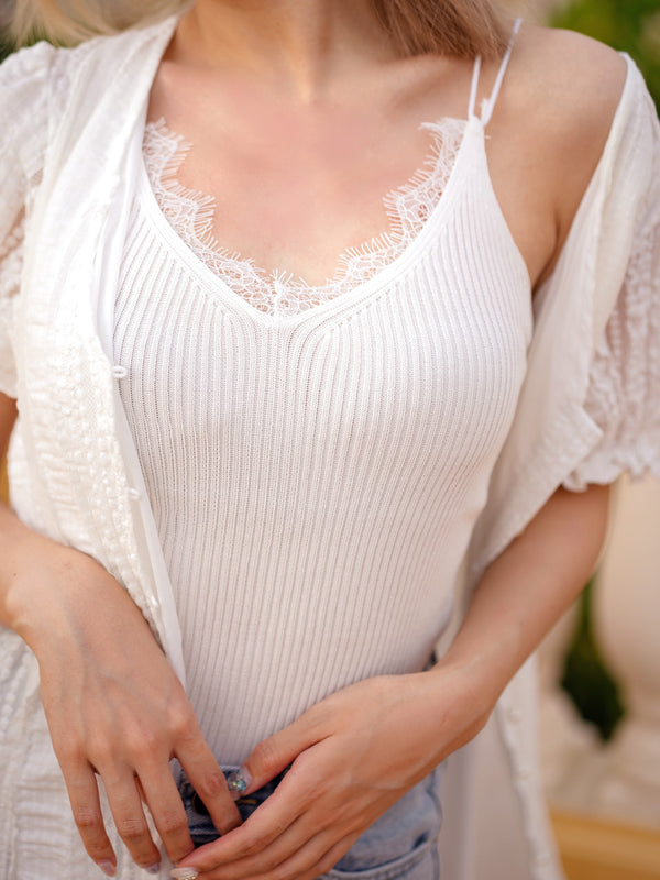 White Sheer Lace Trim V Neckline Top