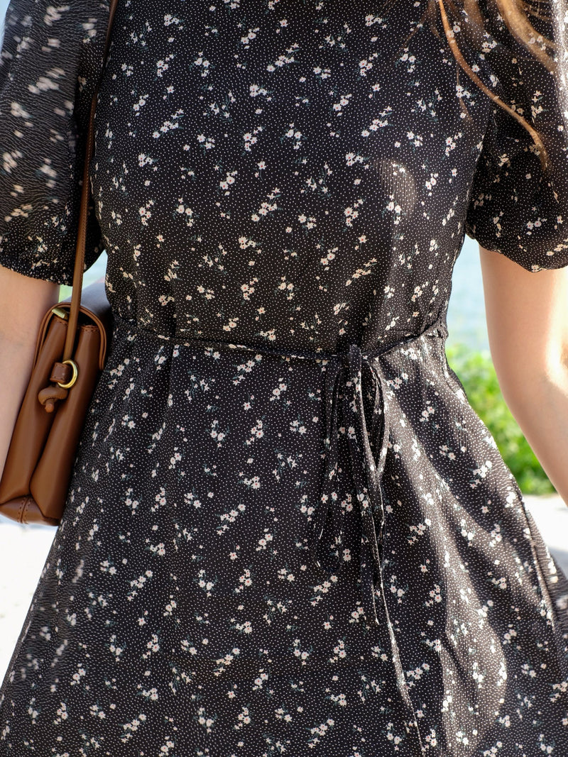 Silky Black Floral Mini Dress With Puffy Detail