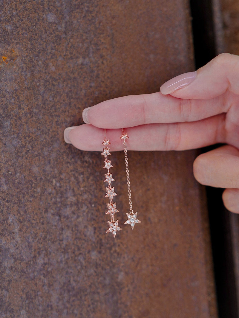 Rose Gold Drop Down Star Diamond Earrings