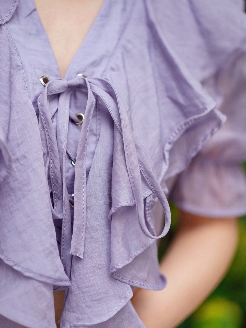 California Dreaming Ruffle Top in Purple