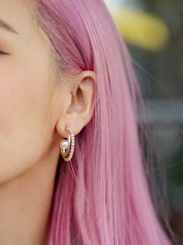 Universe Pearl Hoop Earrings