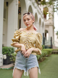 Craving Summer Check Print Top In Yellow