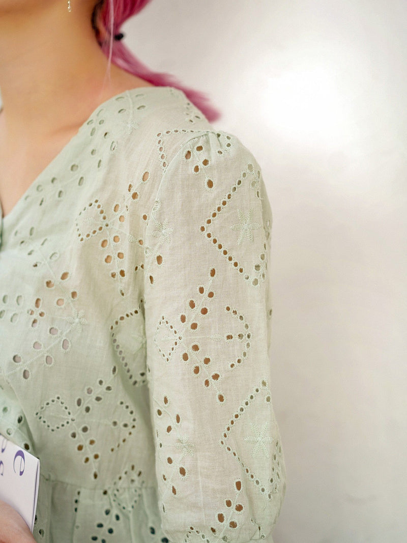 Endless Love Broderie Anglaise Top In Mint