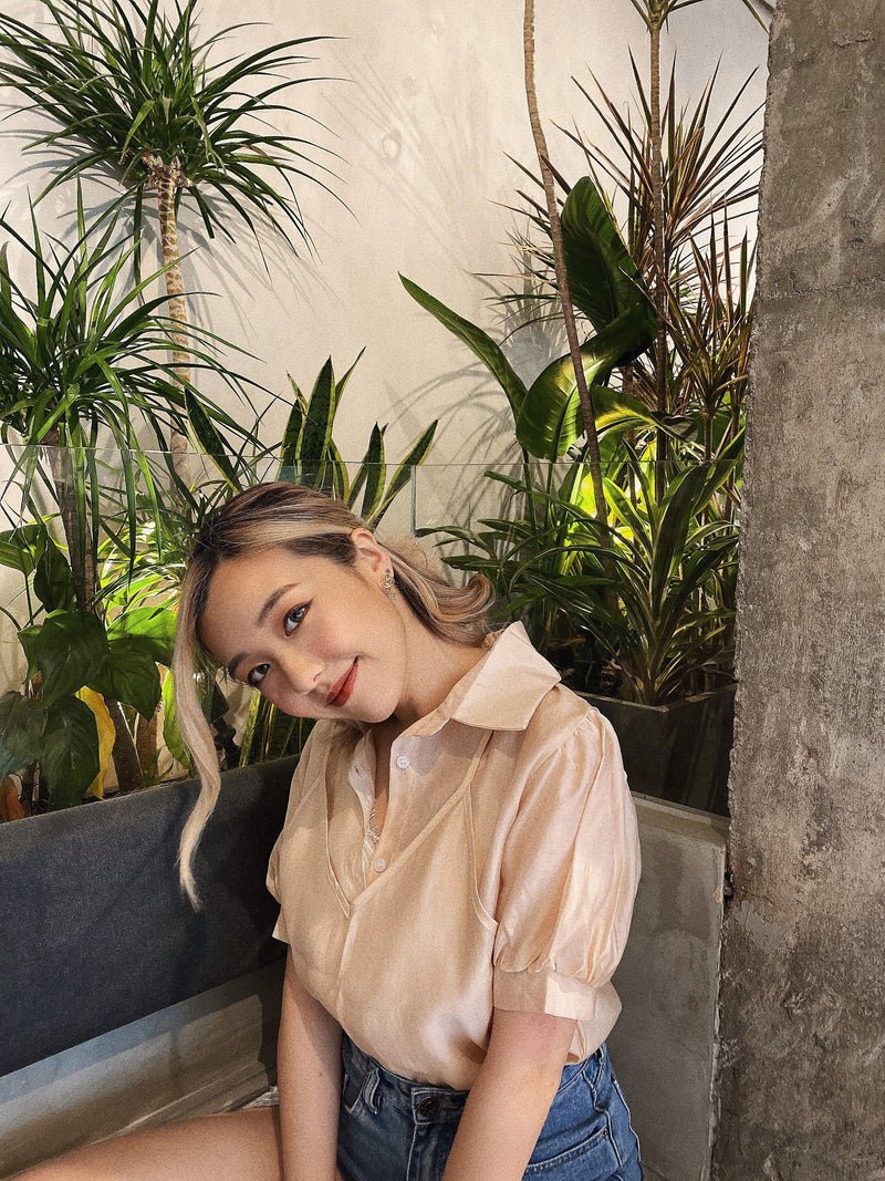 Soft See Through 2 in 1 Blouse In Beige