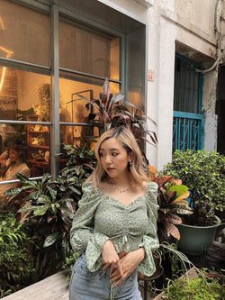 Smocked Floral Top with Puffy Sleeve In Green