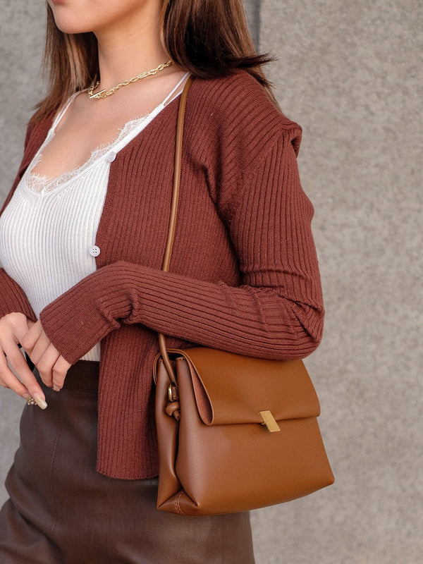 Huggable Cardigan In Coffee Brown