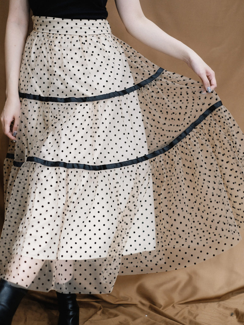 Polka Dot Tulle Skirt In Champagne (In stock)