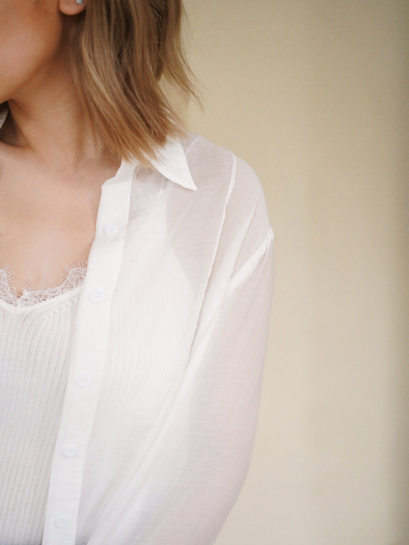 Silky Soft See Through Blouse In White