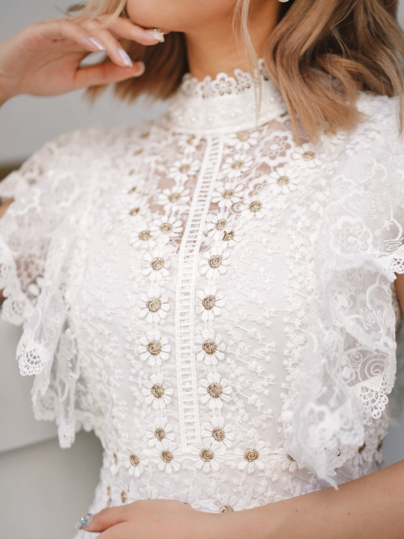 Golden Flower See Through Lace White Mini Dress