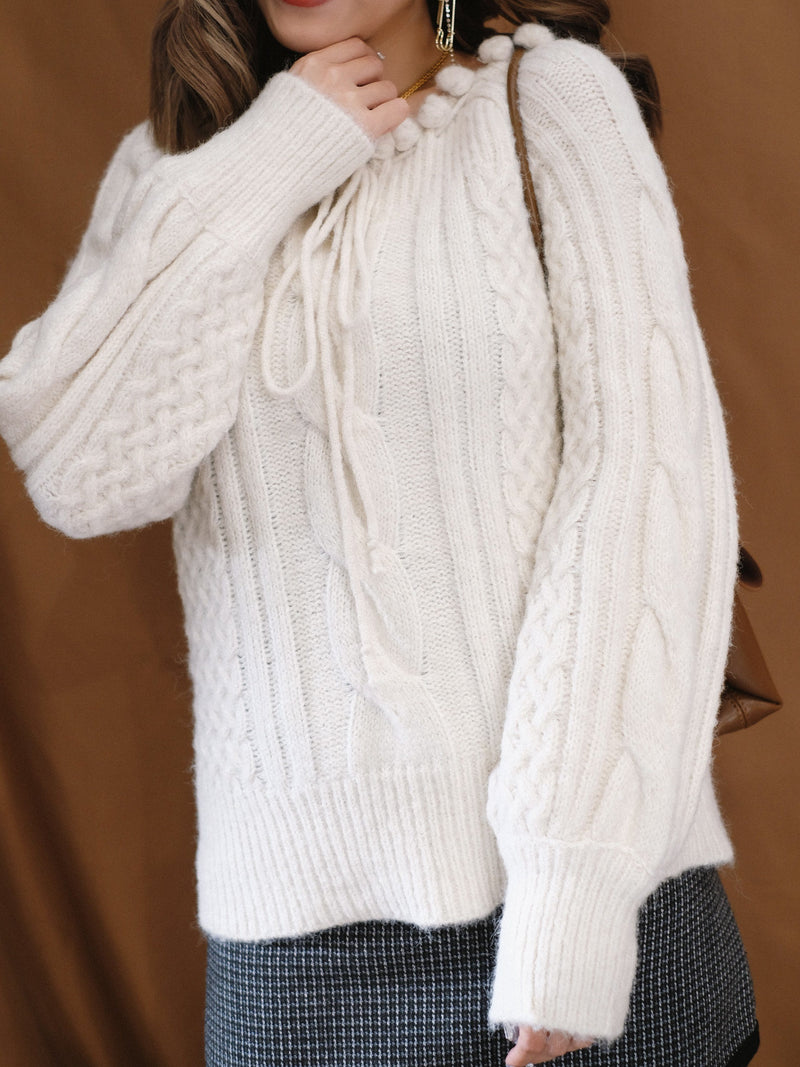 Snowball Cable Knit Top (In Stock)