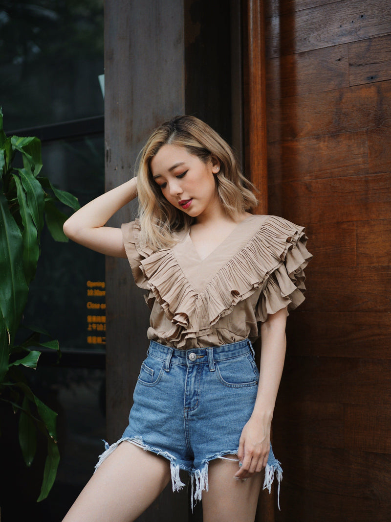 You Go Girl Ruffle Button-Up Top In Beige