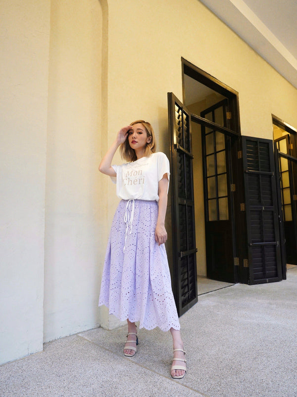 Embroidered Maxi Box Pleated Skirt In Lavender