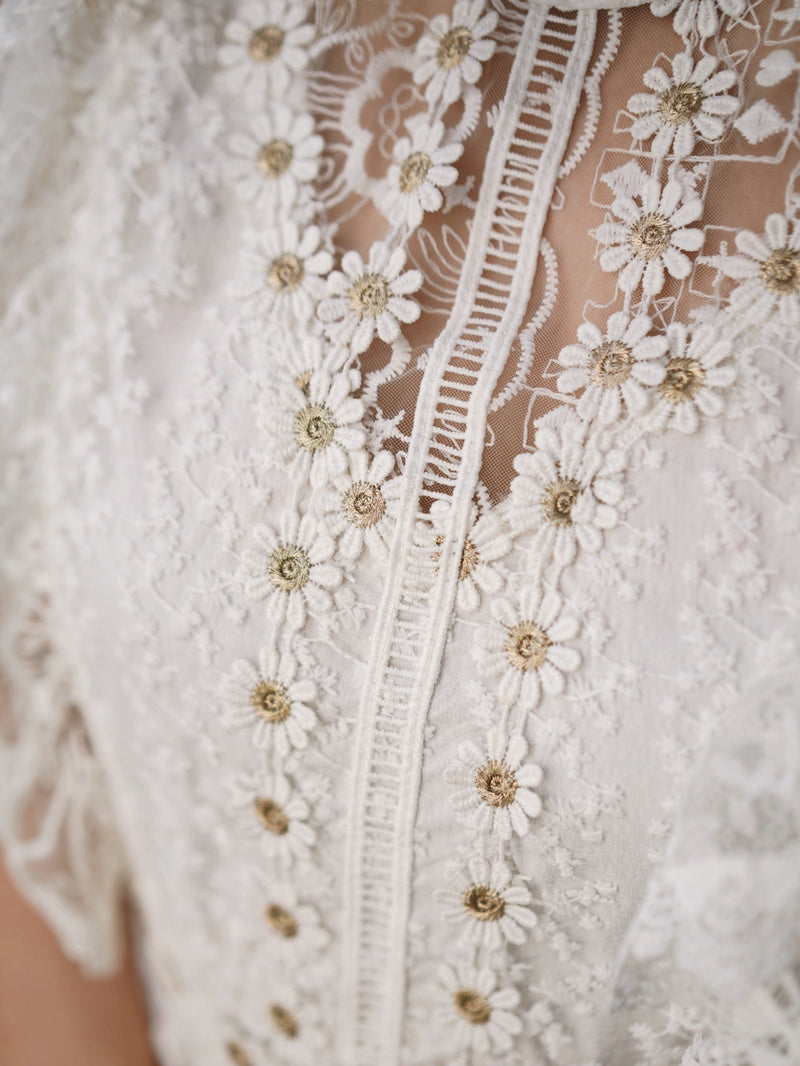 Golden Flower See Through Lace White Midi Dress