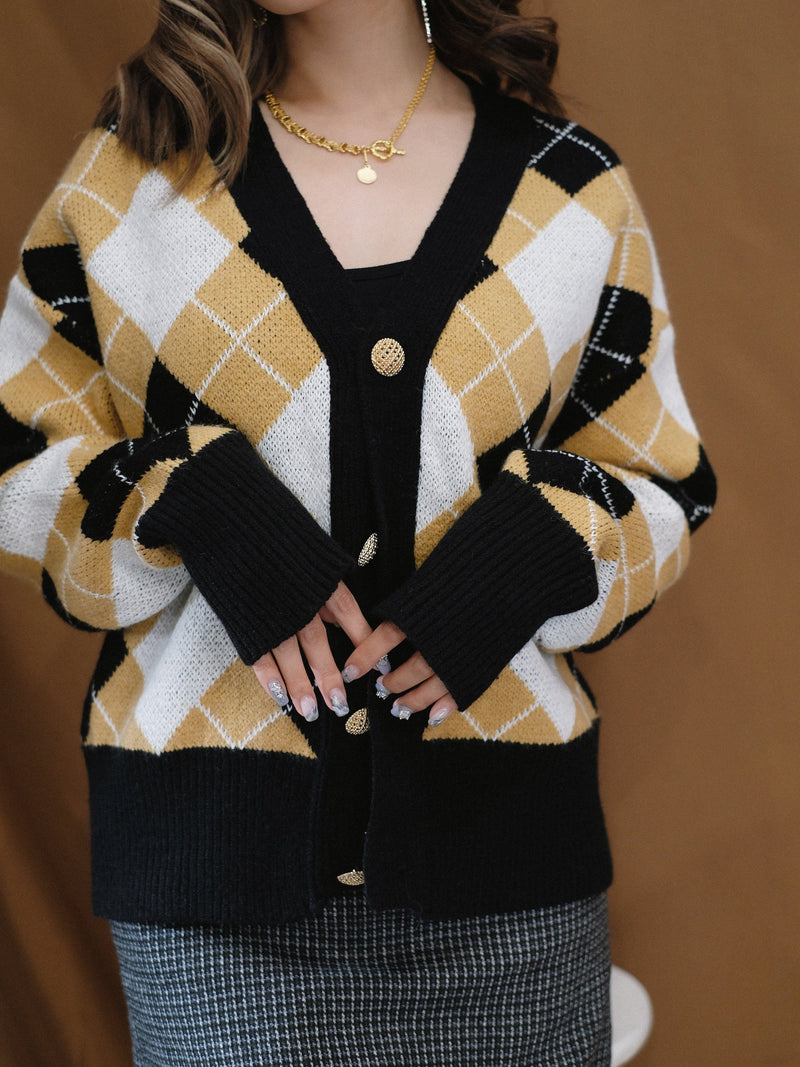 Rhombus Knitted Cardigan (In Stock)
