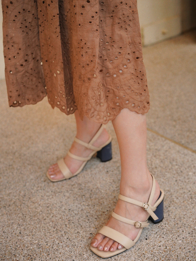 Embroidered Maxi Box Pleated Skirt In Coffee Brown