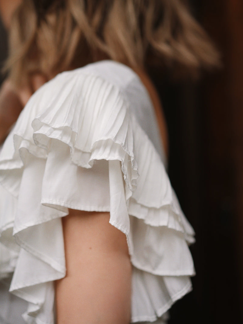 You Go Girl Ruffle Button-Up Top In White