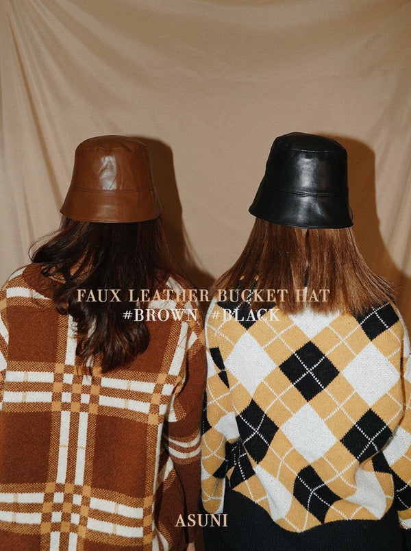 Faux Leather Bucket Hat (In Stock)