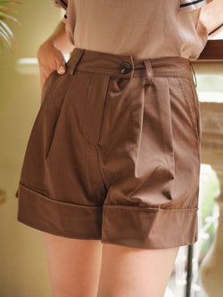 Paperbag Shorts With Button Details In Dark Brown