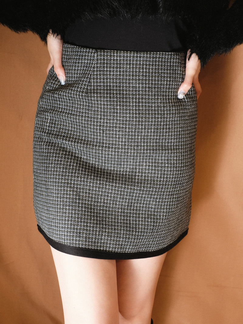 Tweed Mix Check Patterned Mini Skirt (In stock)