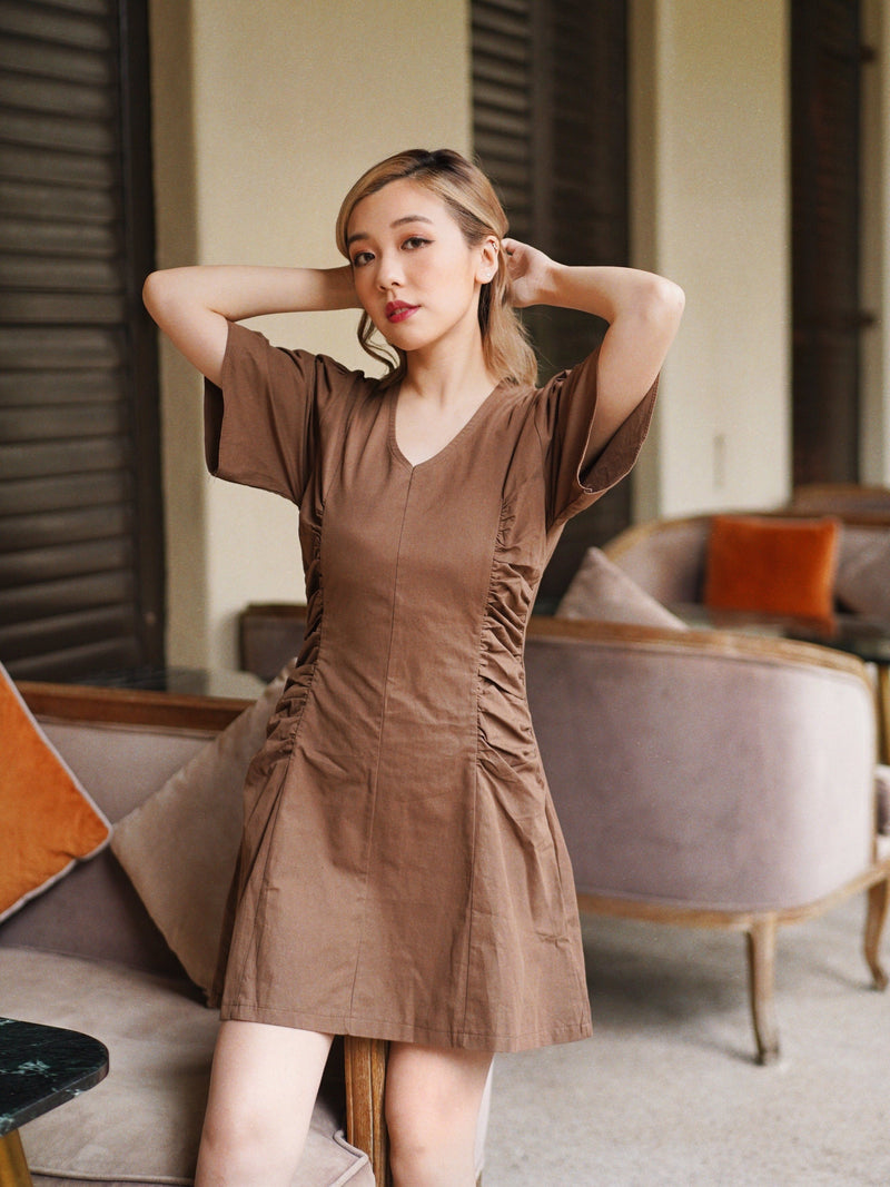 Double Ruched Mini Dress In Coffee Brown