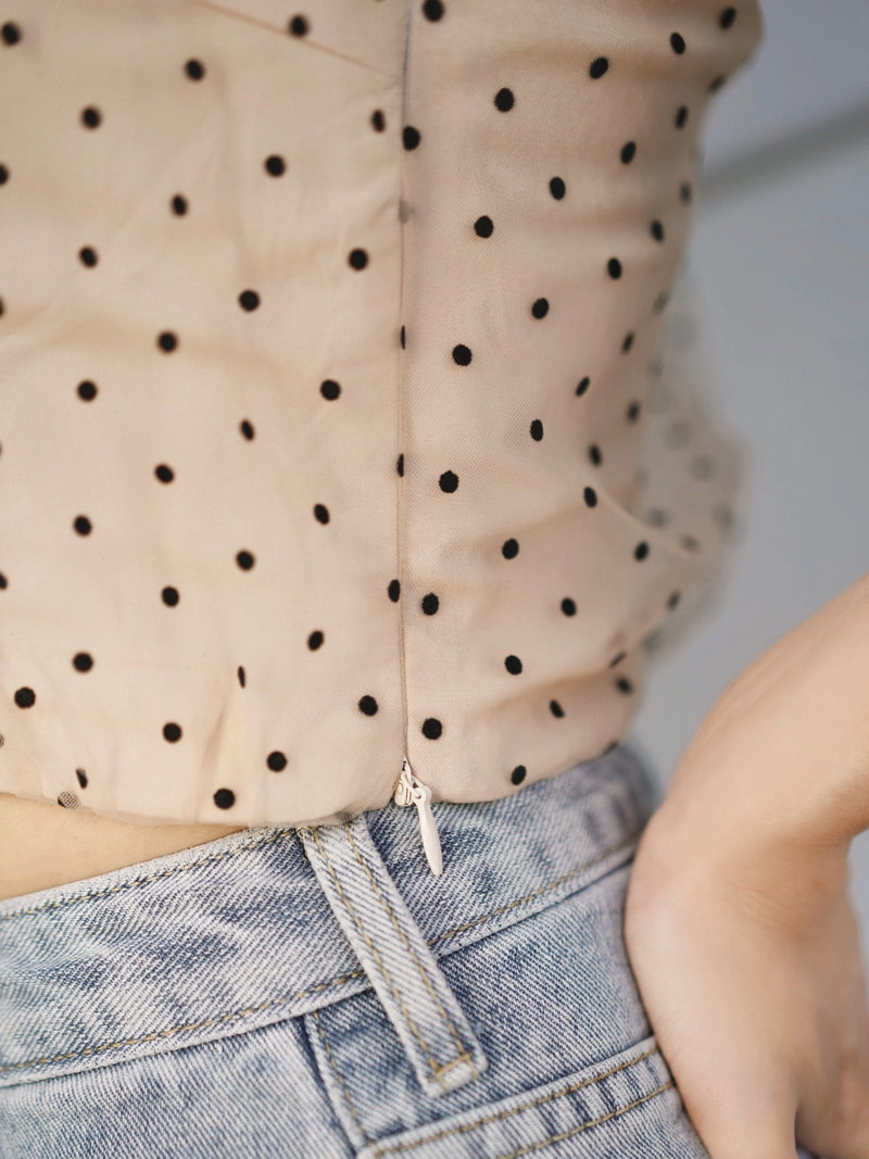 Silky One Shoulder Polka Dot Top (In Stock)