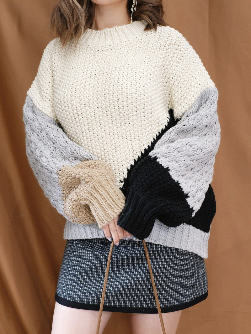 Color Block Oversized Knitwear (Pre-order)